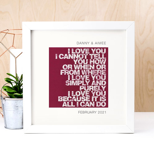 I Love You Simply and Purely Personalised Print