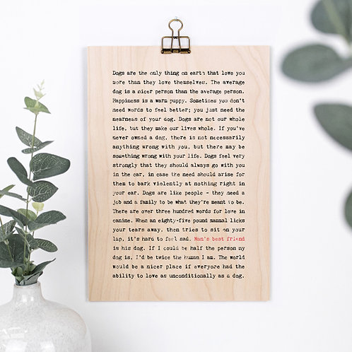 Man's Best Friend Quotes Wooden Sign with Hanger