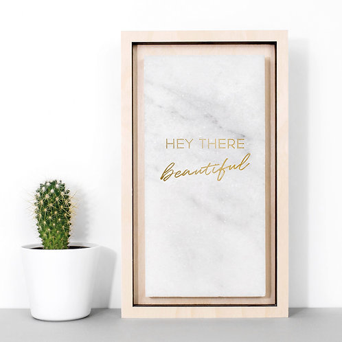 Hey Beautiful Gold Marble Love Print x 3