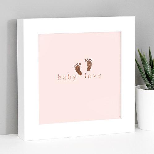 Baby Love Rose Gold/Pink Framed Print x 3
