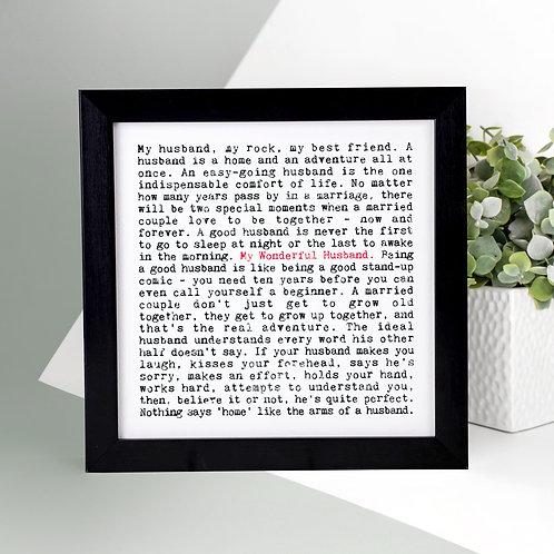 My Wonderful Husband Wise Words Print x 3