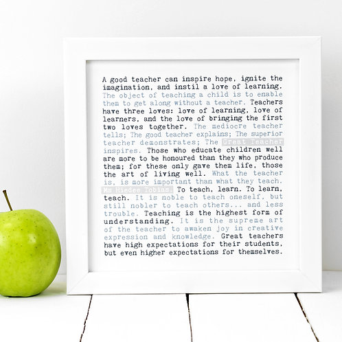 Teachers Personalised Wise Words Quotes Print
