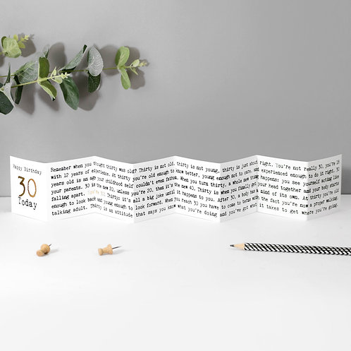 30 Today! Fold-Out Mini Birthday Card with Foil x 6