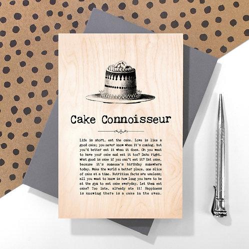 Cake Connoisseur Mini Wooden Plaque Card x 6