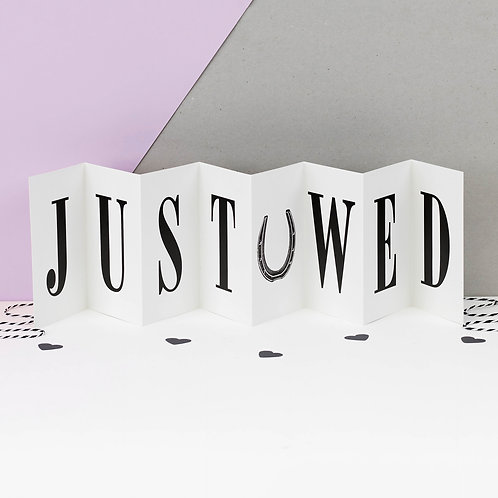 Just Wed Monochrome Concertina Card x 6