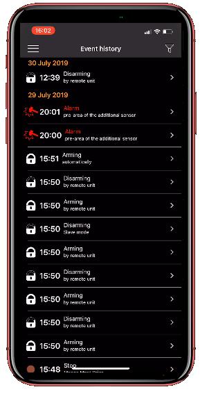 Pandora Car Alarms Smart pro alarm history