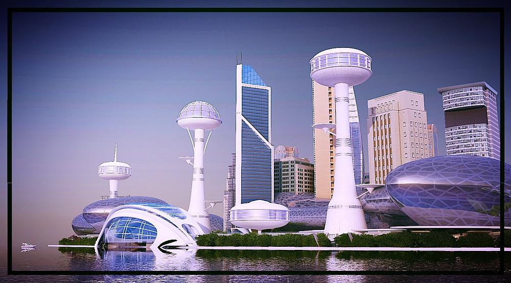 The capital of the Maldives in an eco-futuristic scenario