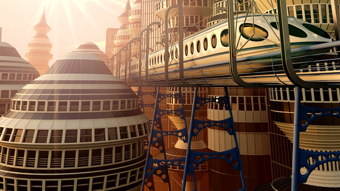 Nothing says 'Utopia' like a Monorail: Wuppertal in 2121.