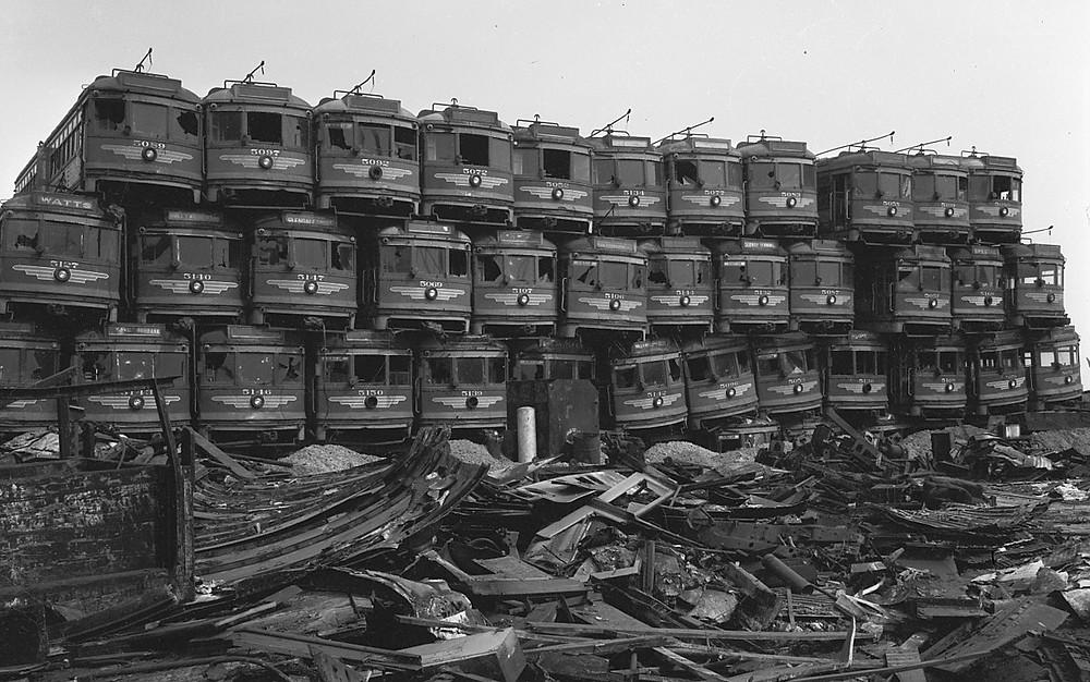 LA streetcar graveyard