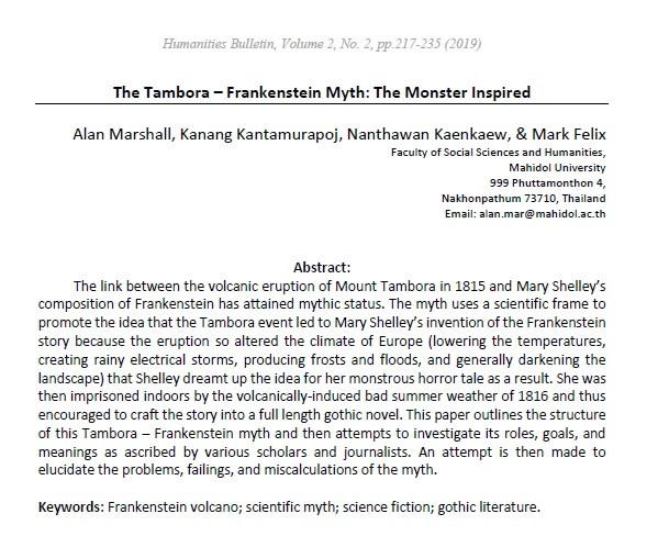 First page of 'The Tambora - Frankenstein Myth' paper