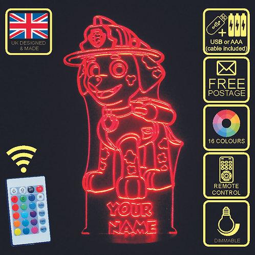 Personalised Paw Patrol 'Marshall' LED Kids Bedside Lamp