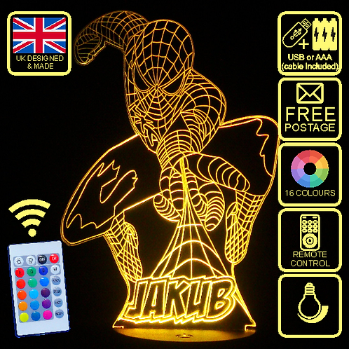 Personalised Web Spinning Spiderman LED Kids Bedside Lamp with remote control.