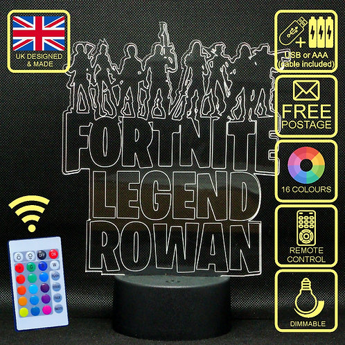 Personalised Fortnite Legend LED Kids Bedside Lamp