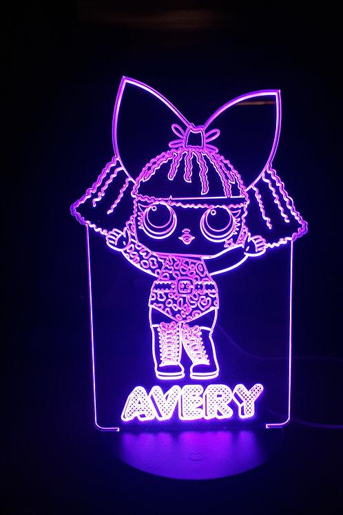 Personalised LOL Doll 'Diva' LED Bedside Lamp
