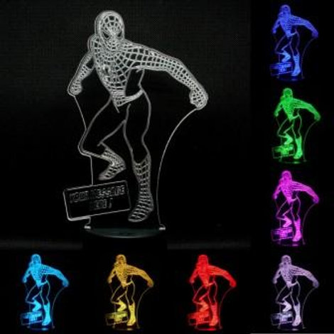 Personalised Stand Up Spiderman LED Kids Bedside Lamp