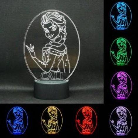 Personalised Elsa Princess LED Kids Bedside Lamp