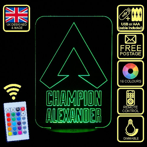 Personalised Apex Champions LED Colour Changing Bedside Lamp