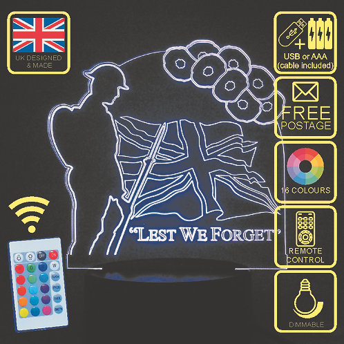 Lest We Forget LED Colour Changing Lamp