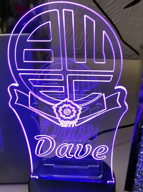 Personalised Local Football Team LED Colour Changing Lamp