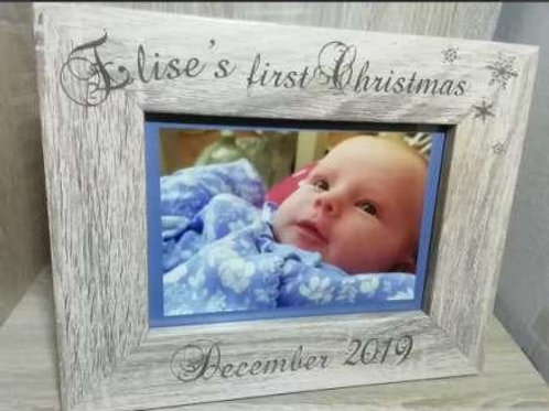 Personalised Baby's First Christmas Photo Frame (Landscape)
