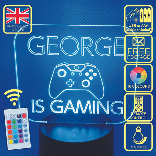 Personalised X Box, X Box One Colour Changing LED Lamp with remote control