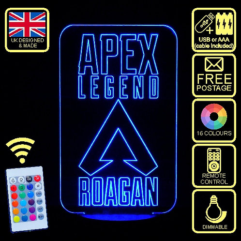 Personalised Apex Legend 2 LED Colour Changing Bedside Lamp