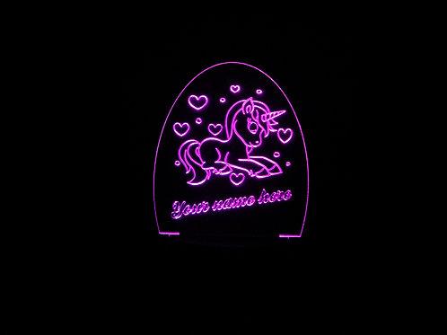 Personalised Unicorn 1 LED Kids Bedside Lamp