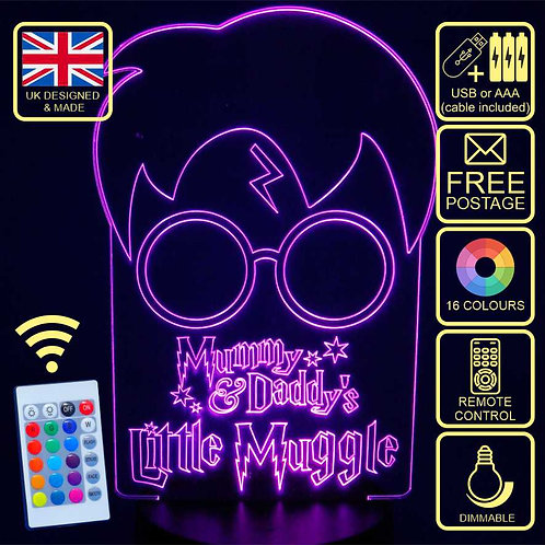 Mummy & Daddy's Little Muggle Colour Changing LED Lamp with remote control.