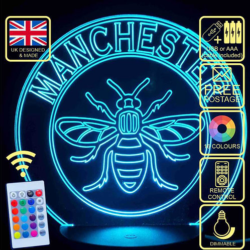Manchester Bee 16 Colour Changing LED Lamp with remote control