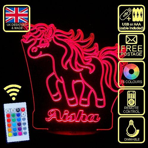Personalised Unicorn  5 (Aisha Style) LED Kids Bedside Lamp