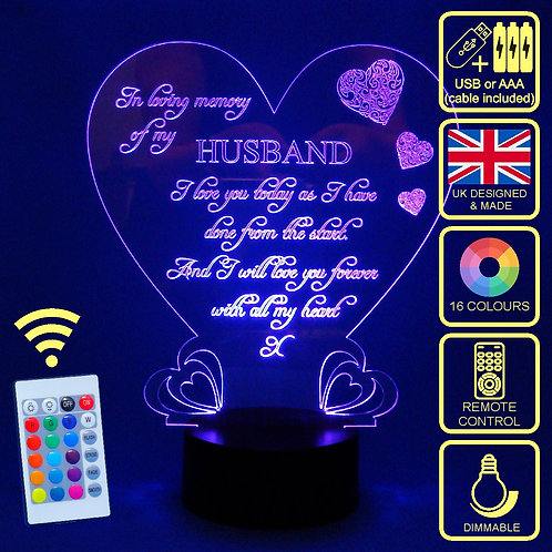 Personalised Memorial Love Heart LED Lamp