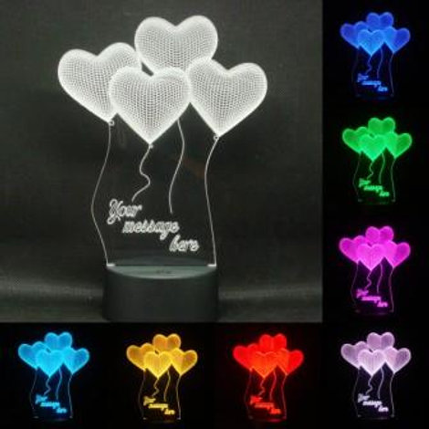 Personalised Love Heart Balloons LED Bedside Lamp