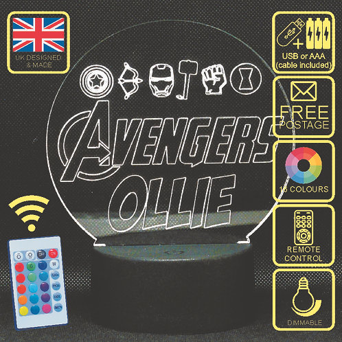 Personalised The Avengers Kids LED Bedside Lamp.