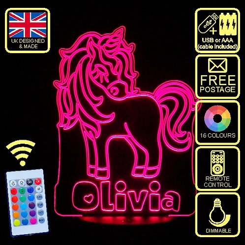 Personalised Unicorn 2 LED Kids Bedside Lamp