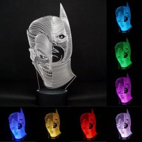 Personalised Joker / Batman Two Face LED Kids Beside Lamp
