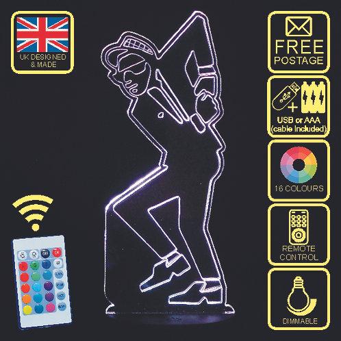 Personalised Dancing Ska Man LED Bedside Lamp