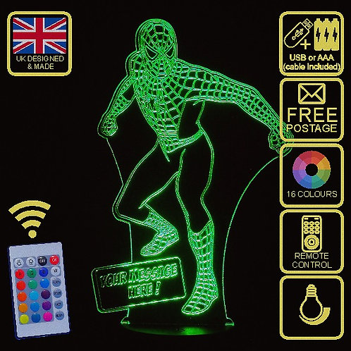 Personalised Stand Up Spiderman LED Kids Bedside Lamp with remote control