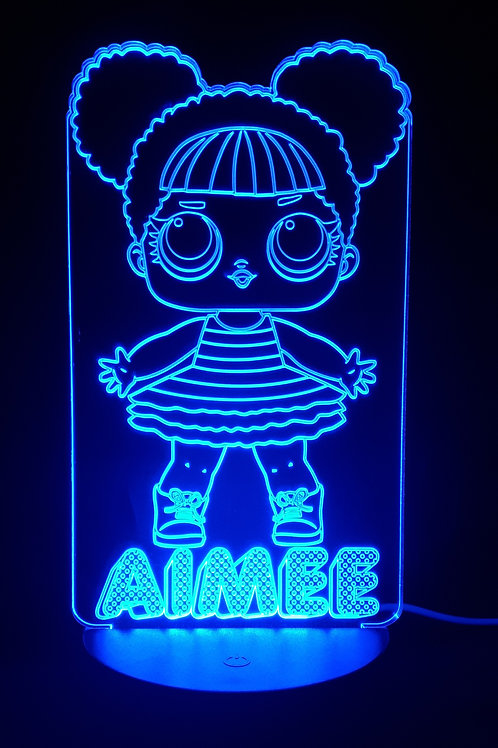 Personalised LOL Doll 'Queen Bee' LED Bedside Lamp