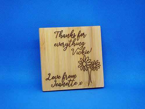 Personalised Thank You Bamboo Coaster - Mix and Match. Buy 2 Get 2 Free!