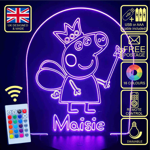 Personalised Peppa Pig 16 Colour Changing LED Bedside Lamp with remote control