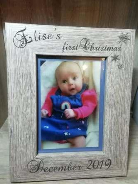 Personalised Baby's First Christmas Photo Frame (Portrait)