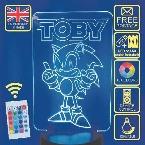 Sonic The Hedgehog LED kids Bedside Lamp