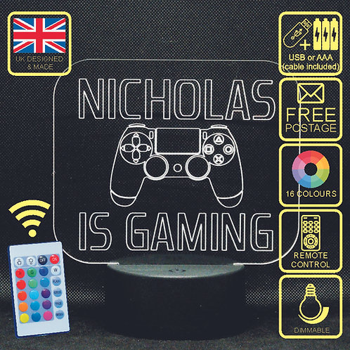 Personalised Playstation 4 (Is Gaming) LED Colour Changing Kids Bedside Lamp