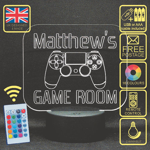 Personalised Playstation 4 (Game Room) LED Colour Changing Kids Bedside Lamp
