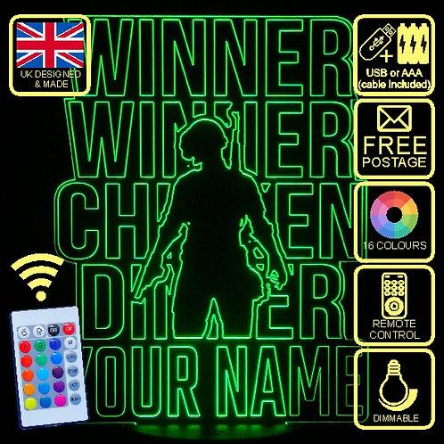 Personalised Winner Winner Chicken Dinner LED Bedside Lamp