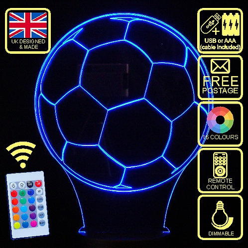 Personalised Football / Soccer Ball LED  Kids Bedside Lamp