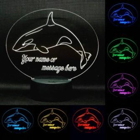 Personalised Orca Whale LED Kids Bedside Lamp