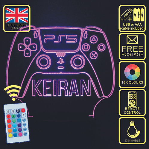 Personalised Playstation 5 PS5 Contoller 16 Colour Changing LED Lamp