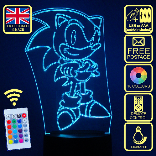 Sonic The Hedgehog LED kids Bedside Lamp with remote control