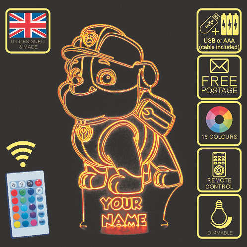 Personalised Paw Patrol 'Rubble' LED Kids Bedside Lamp